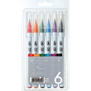 Zig clean color real brush pen sets 6 zwart paars geel groen blauw rood handletteren handlettering
