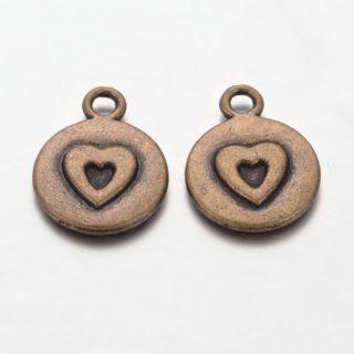 Bronzen bedel hartje rond nikkelvrij