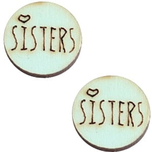 Houten cabochon 12mm sisters