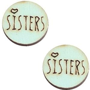 Houten cabochon 12mm sisters