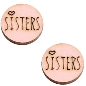 Houten cabochon sisters Pink 12mm