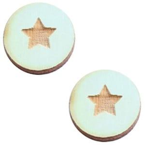 Houten cabochon star small Sea green 12mm