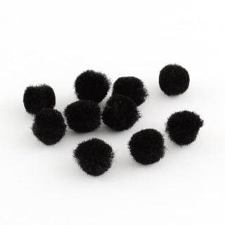 Pompom zwart pomponnetjes 10mm