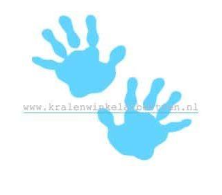 Strijkapplicatie baby handjes blauw
