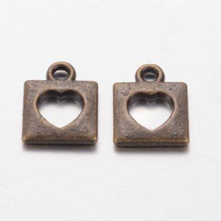 Vierkant hartje bedel brons bedelarmbandjes zelf maken