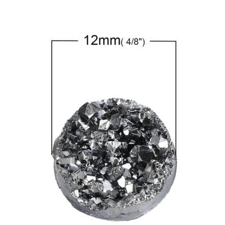 Cabochon 12mm druzy zilveren