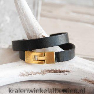 Echt leren armband zwart goud
