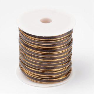 Plat imitatieleer koord goud bruin 6mm