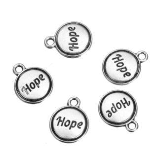 Ronde hope bedels zilver tibetaans