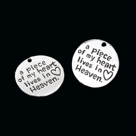 Bedel a piece of my heart lives in heaven rond zilver