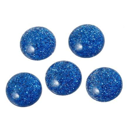 Cabochon blauw glitter