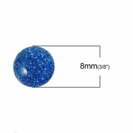 Cabochon glitter blauw 8mm