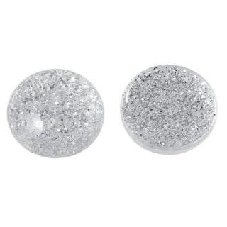 Cabochon glitter zilver