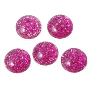 Cabochon roze glitter