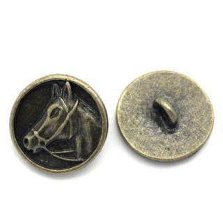 Knopen met paardenhoofd brons