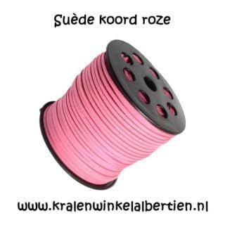 Suède koord roze