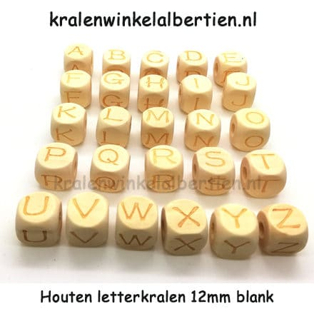 Houten letterkralen blank 12mm groot hele alfabet
