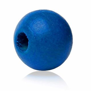 Houten kralen blauw kobalt