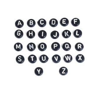 Plat ronde lettekralen 7mm zwart witte letter