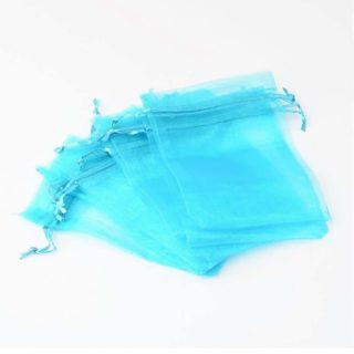 Organza zakjes aqua blauw