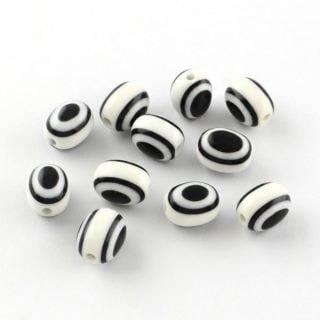 ovalen kralen zwart wit