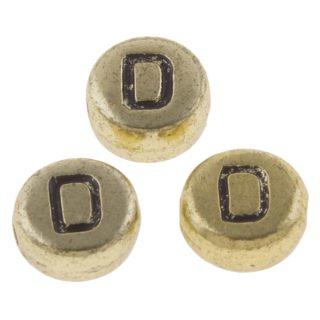 Alfabet letterkralen goud D