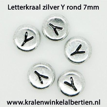 Alfabet letter kraal zilver rond y kunststof