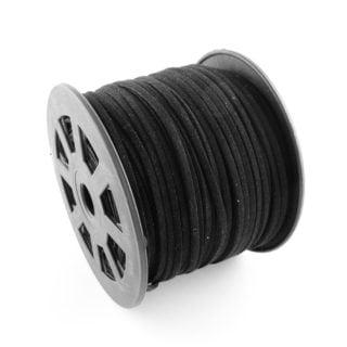 Suede veters op rol zwart 90 meter