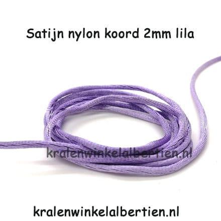 Zijde koord nylon 2mm dik lila satijnen koord