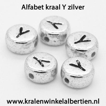 Letterkralen plat rond zilver 7mm Y