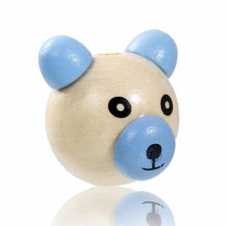 Houten kralen beertje hoofd blauw blank