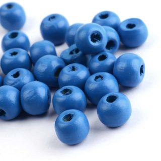 Hout kraal blauw 12mm rond
