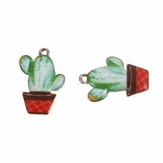 Bedels cactus nikkelvrij goud groen gekleurd