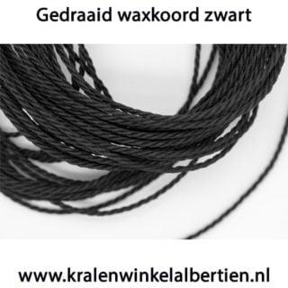 Waxdraad zwart kralen rijgen 1.5mm dik