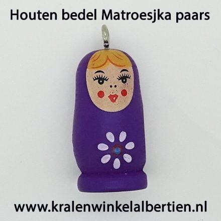 paarse Matroeskja hanger hout groot
