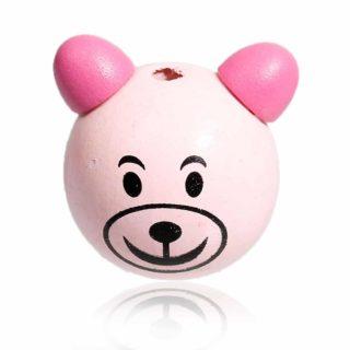 Kralen hout beertje roze haken poppetje groot