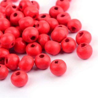 Ronde kraal hout 7mm rood