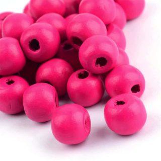 Kraal hout fuchsia roze 12mm groot