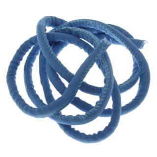 Gestikt koord blauw stof 6mm