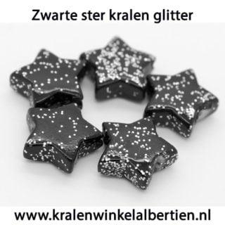 Ster kraal glitter kunststof zwart