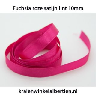 Satijn lint roze fuchsia 10mm breed
