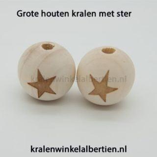Blank houten kralen met ster groot