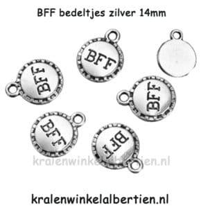 Kleine ronde zilveren bedeltjes BFF metaal