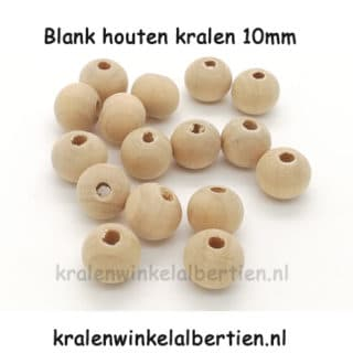 Blanke kraal hout 10mm naturel