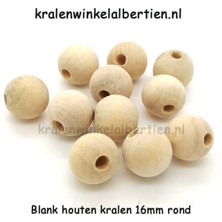 Blanke kraal hout 16mm groot niet gelakt