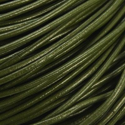 Echt leren koord sieraden maken 2mm olijf groen
