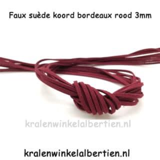 Suède veter bordeaux rood 3mm