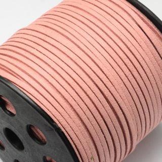 Suède koord 3mm donker zalm roze