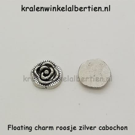 Floating charm bloem zilver 7.5mm