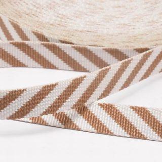Linten met strepen bruin beige 12mm grosgrain lint